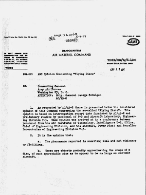 Schulgen Memo - Re Flying Discs, Phenomenon is Real 8-23-1947
