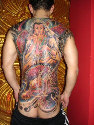 full back tattoo wings. ack tattoo design.