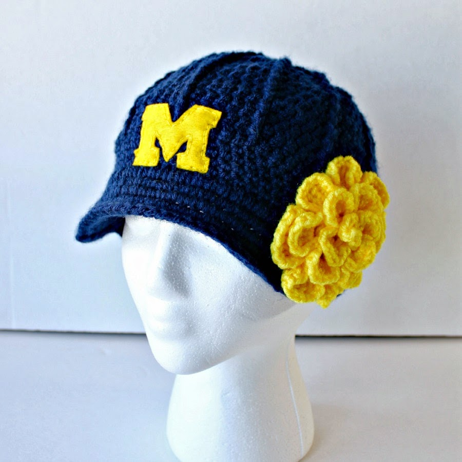 University of Michigan Crochet Brimmed Hat