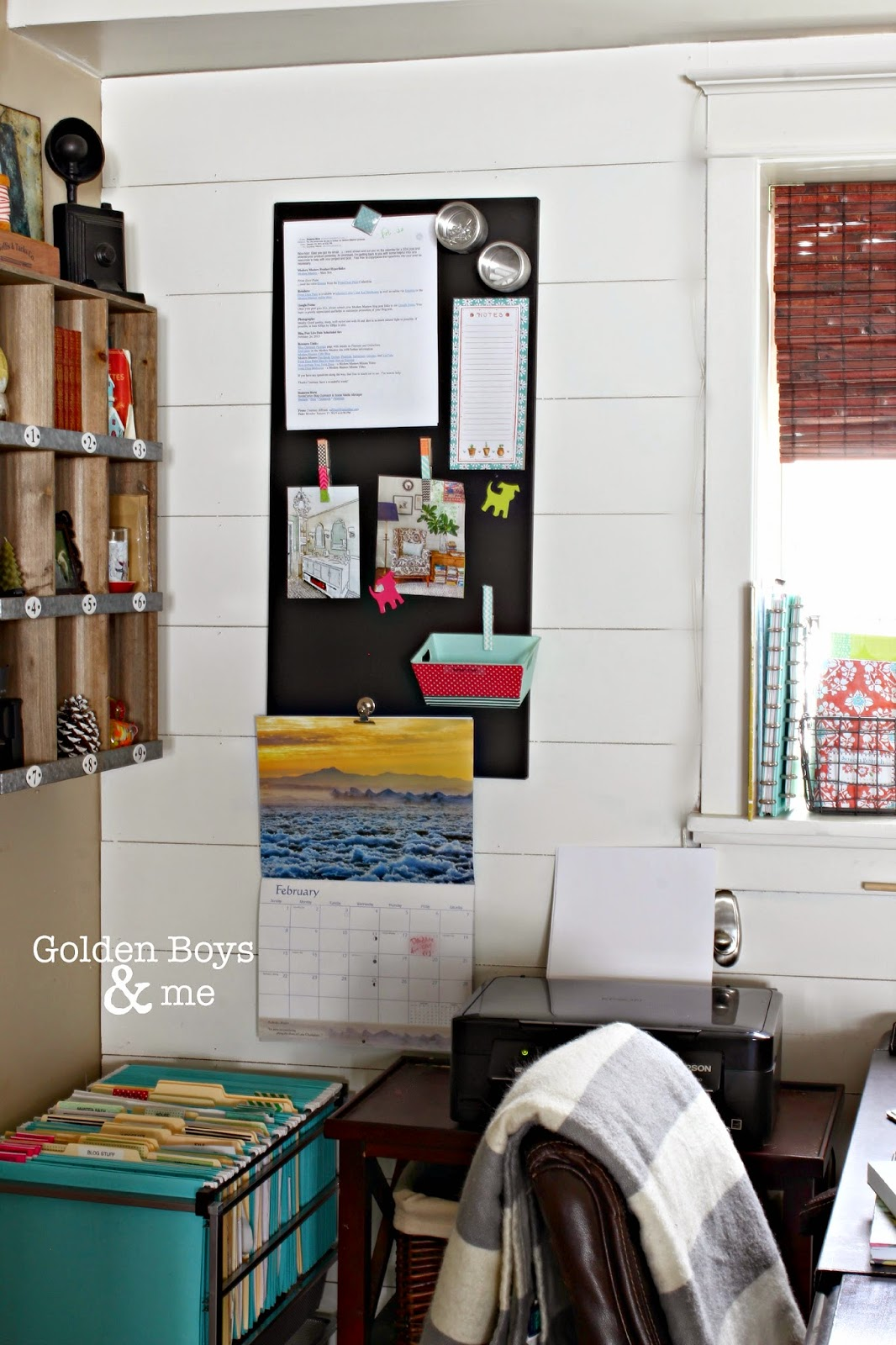 Affordable office organization ideas- Ikea spontan magnetic board painted with chalkboard paint-www.goldenboysandme.com