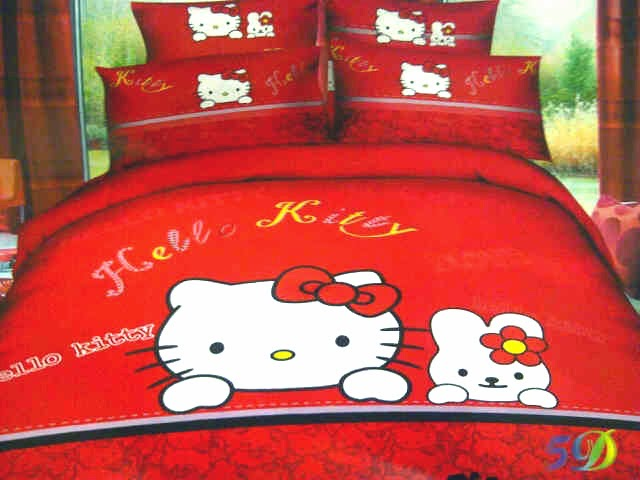 Sprei Jepang Anak Motif Hello Kitty Merah