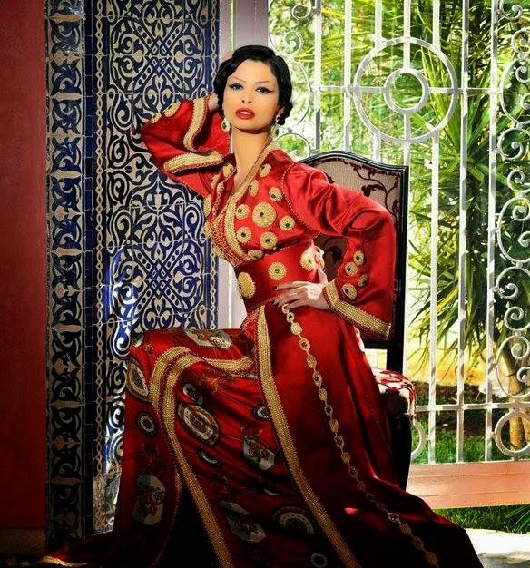 Caftan marocain 2014 de luxe rouge