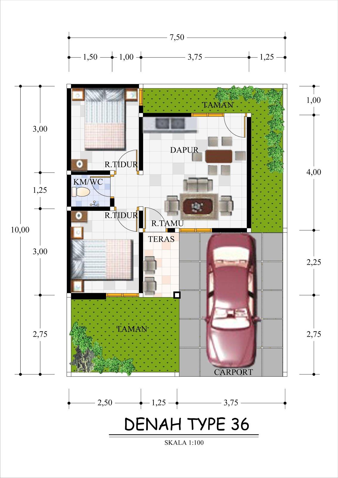 Gambar Denah Rumah Type 36 Ukurannya Freewaremini Desain