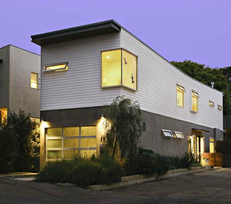 Narrow lot prefab house, Santa Monica, CA