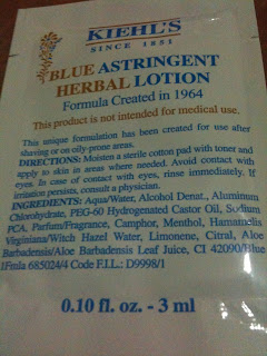 Kiehl's Blue Astringent Herbal Lotion (Sample Size - Front)
