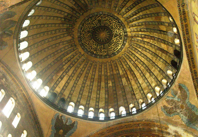 Interior view of the Hagia Sophia dome and the angels surrounding it
