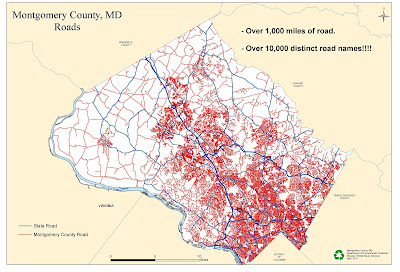 Map of Montgomery County, Maryland, roads