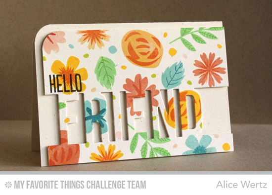 Hello Friend Card from Alice Wertz featuring Modern Blooms stamp set and Friend Die-namics
