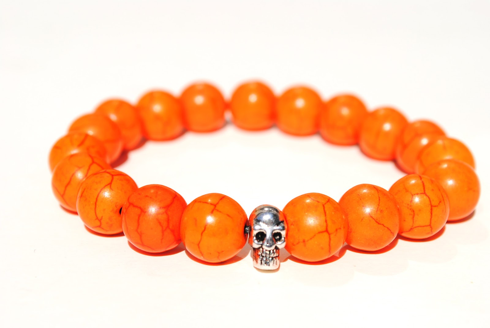 Made For Men Orange Skull Boybeads Bracelets
