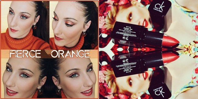 "Instagram @lelazivanovic.""Fierce Orange"" makeup tutorial by Jelena Zivanovic.Calvin Klein ""Delicious Luxury Creme Lipstick (orange too)."