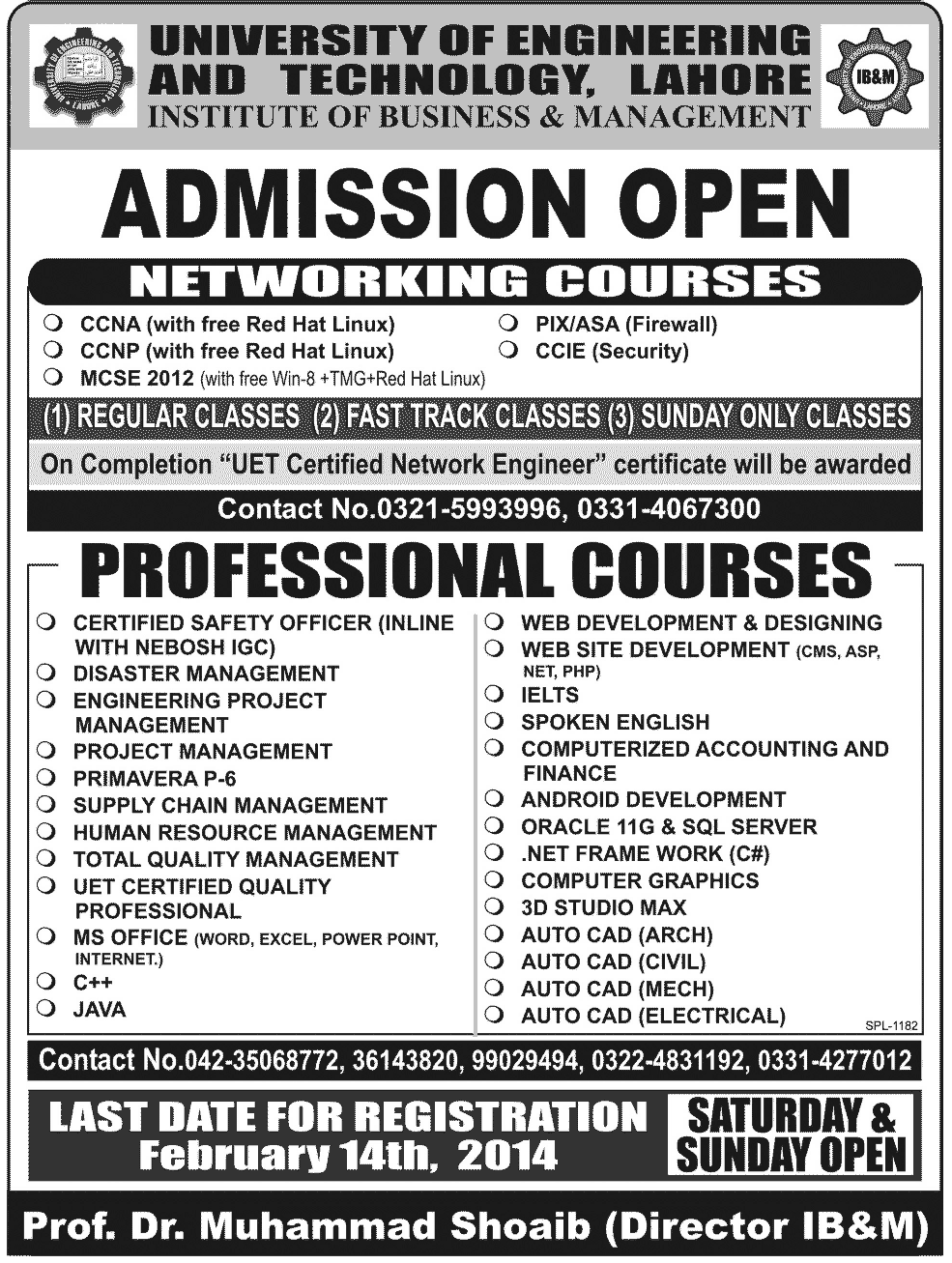 UET Lahore 2014 Admission Offers Network Courses 2014