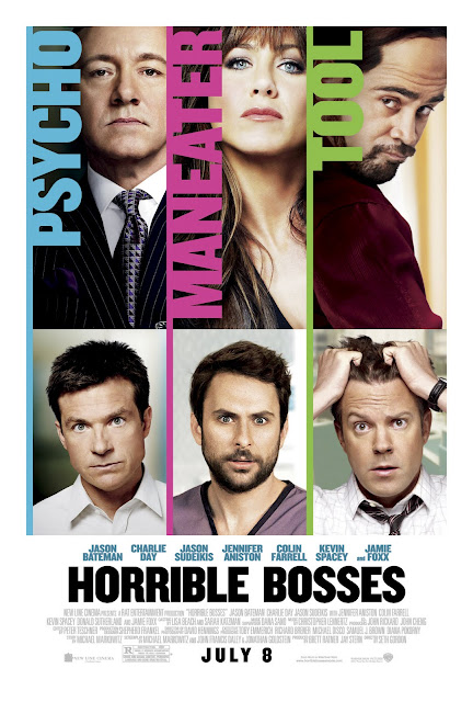 Horrible Bosses film Poster with Jennifer Aniston, Kevin Spacey and Colin Farrell