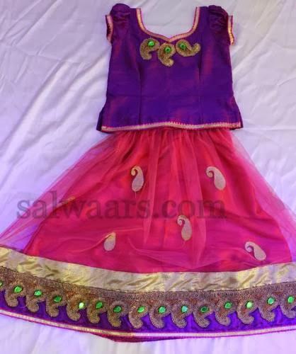 Pink and Purple Simple Kids Skirt