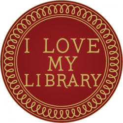 """image of a circular seal with the words """"I love my library"""" in the center"""