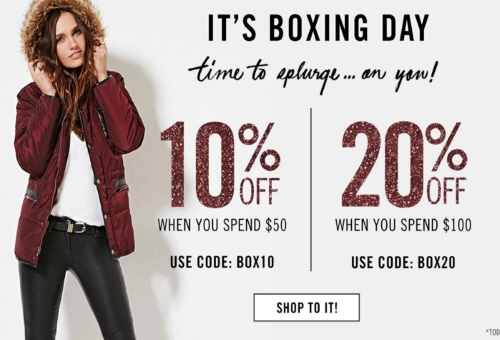 Forever 21 Boxing Day Up To 75% Off + Extra Up To 20% Off Promo Code