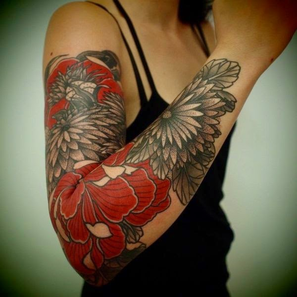 red grey flower tattoos on right sleeve viral tattoo news of the day world wide tattoos news. Black Bedroom Furniture Sets. Home Design Ideas
