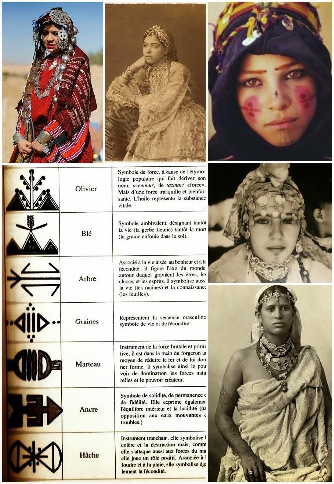 donne marocchini berbere con gioielli e tatuaggi tradizionali
