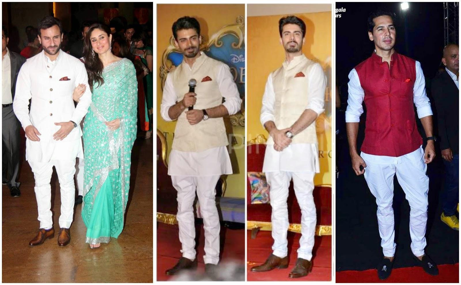 Raghavendra Rathore Designs of Waistcoat Sets, Saif Ali Khan in waistcoat set, Fawad Khan in Raghavendra Rathore, Dino in waistcoat set