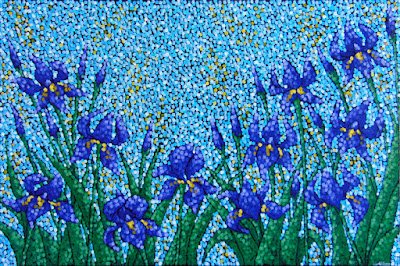 Blooming Iris, Lizzards Gallery, Aaron Kloss art, MN landscape, pointillism