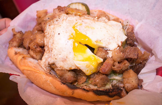 Big & Little's - Pork Belly Po' Boy and Fried Egg