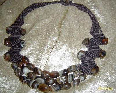ожерелье макраме агат