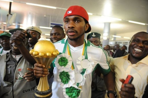 Victorious Nigerian football team arrives home