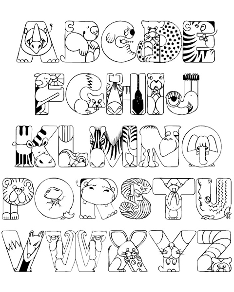 Crazy Zoo Alphabet Coloring Pages - ABC Coloring Pages: www.abcoloring.net/2013/07/CrazyZooAlphabetColoringPages.html