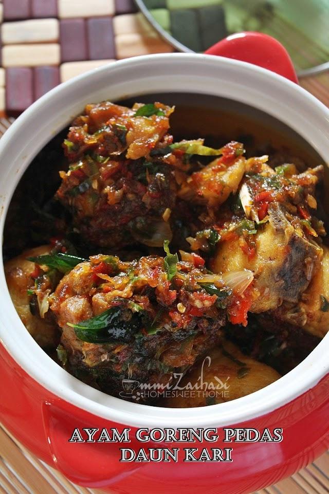 Resepi Ayam Goreng Pedas Daun Kari