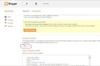 Off navbar button above template input box