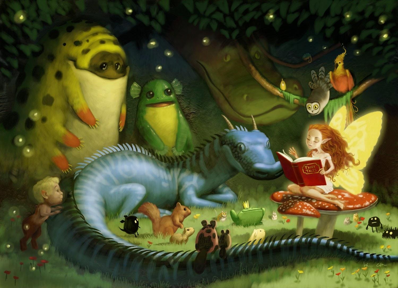 illustration de Bobby Chiu représentant une fee racontant une histoire aux animaux de la forêt