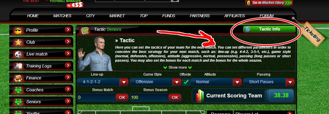 เมนู tactic info