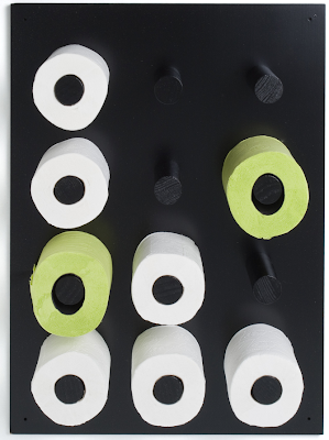 toilet paper peg rack; holds 12 rolls