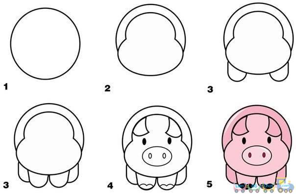 Cách Vẽ Hình con heo đơn giản