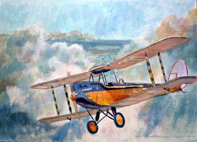 Óleo de un biplano De Havilland  - tercera sesión