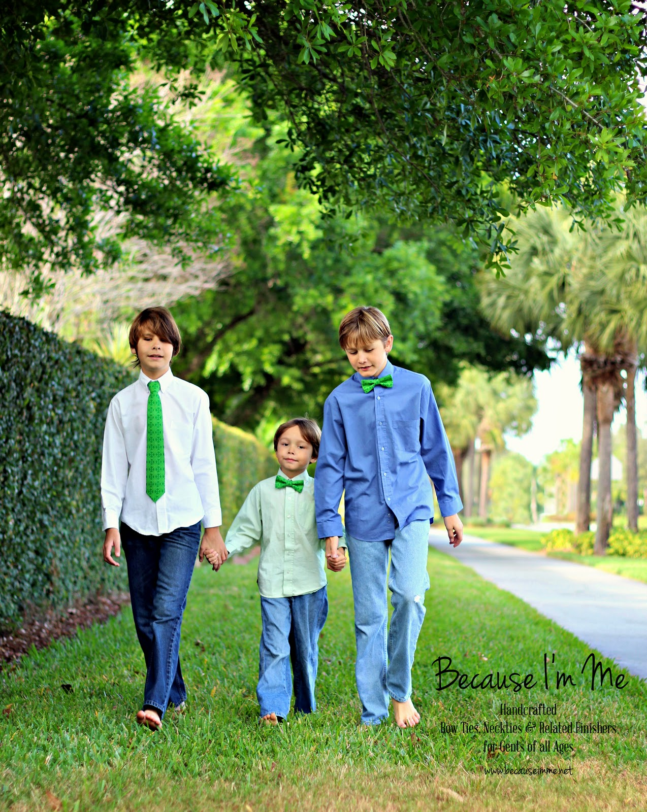 Green Bow Ties and Neckties for St. Patrick's Day, available for both men and boys