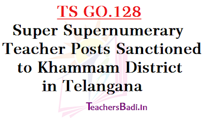 TS GO.128, Super Supernumerary Teacher Posts,Khammam District