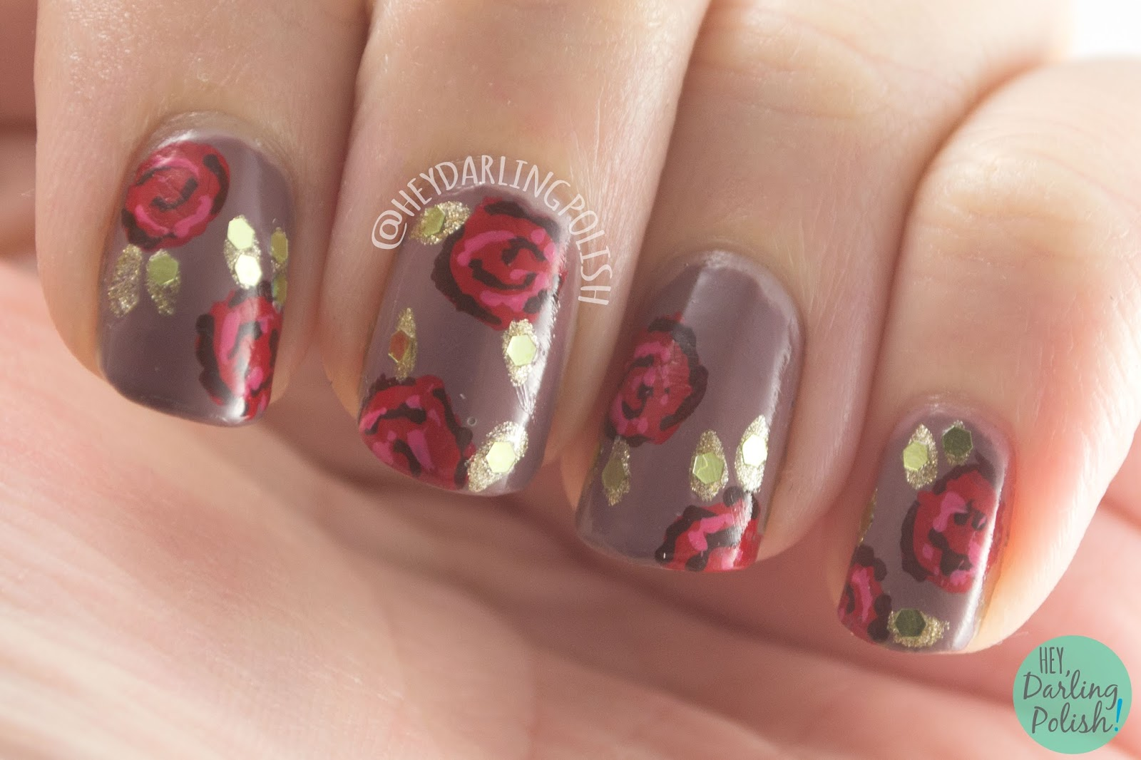 nails, nail art, nail polish, hey darling polish, roses, red, gold, fashion, dolce and gabbana, the nail challenge collaborative