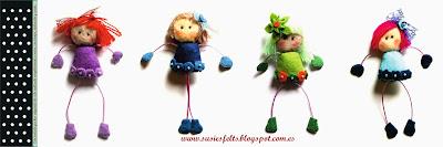 Susies, kokis, broches, fieltro, muñecas, handmade