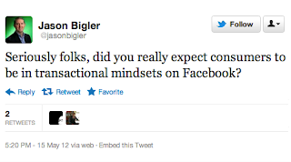 Google ad executive tweets, 'Did you really expect consumers to be in transactional mindsets on Facebook?'