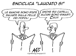 Enciclica, papa francesco, banche, ior, satira , vignetta