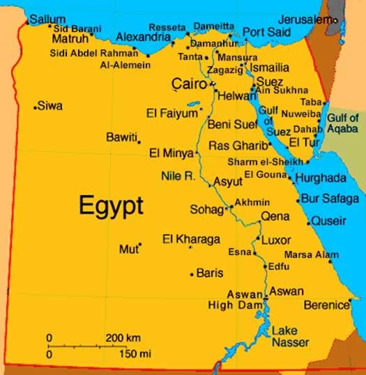 Egypt country map map of world region city egypt country map gumiabroncs Choice Image