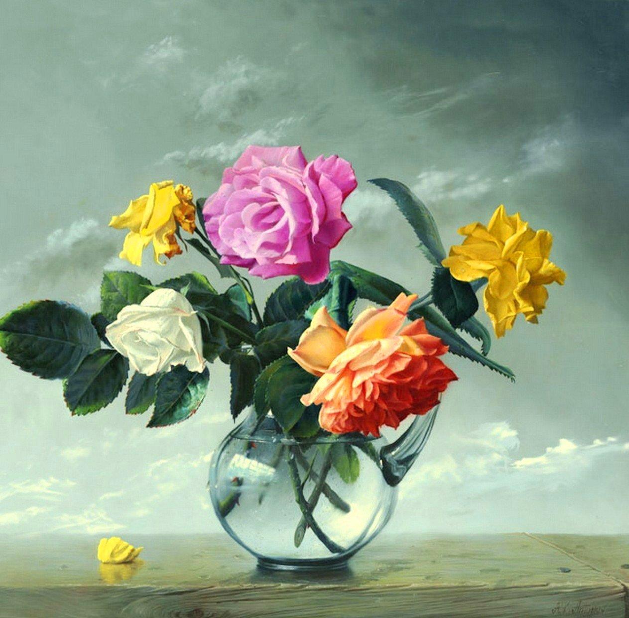 Cuadros modernos pinturas y dibujos cuadros de flores al for Cuadros de oleo modernos