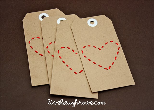 Stitched Heart Valentine Tags