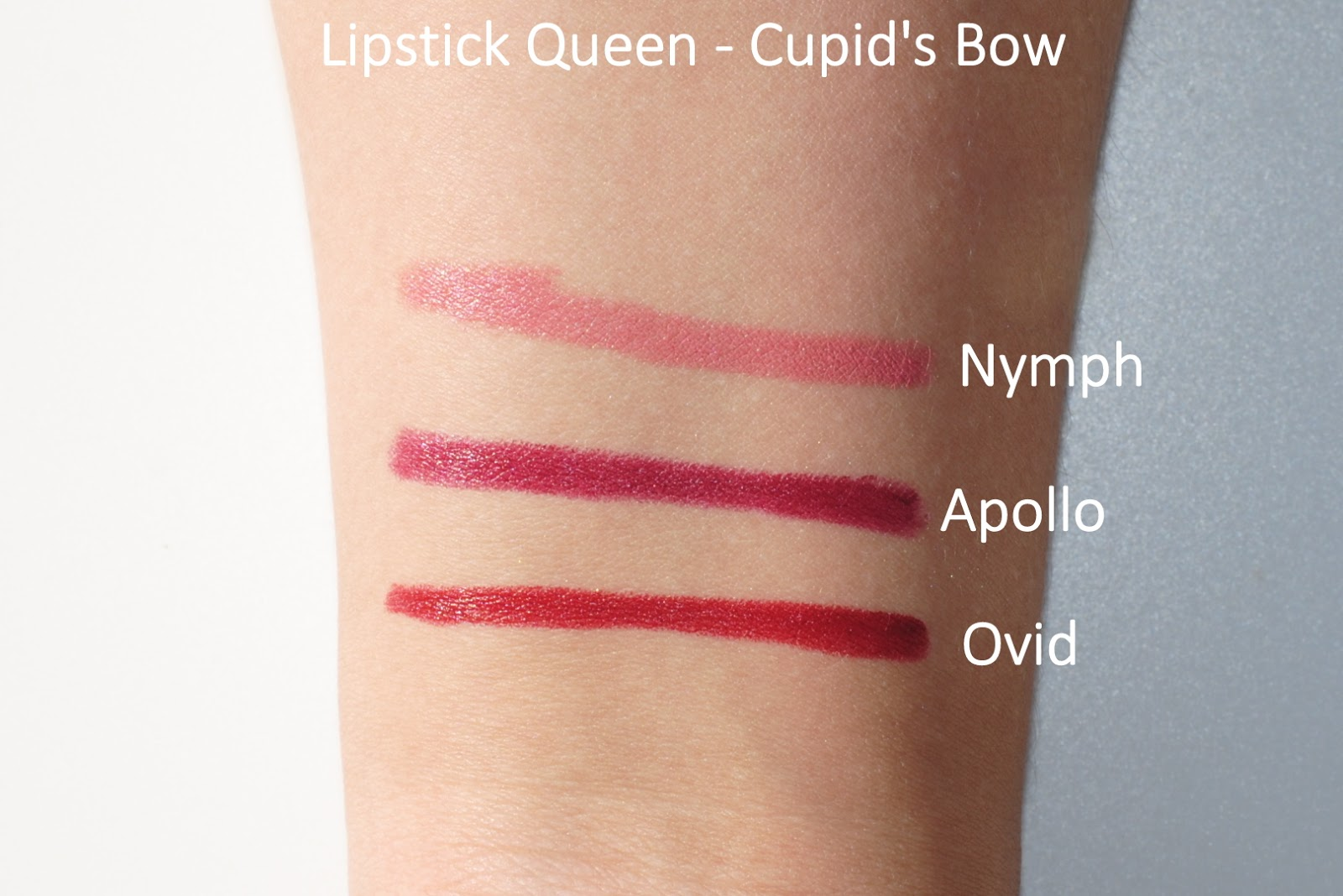 lipstick queen cupid's bow swatches apollo nymph ovid