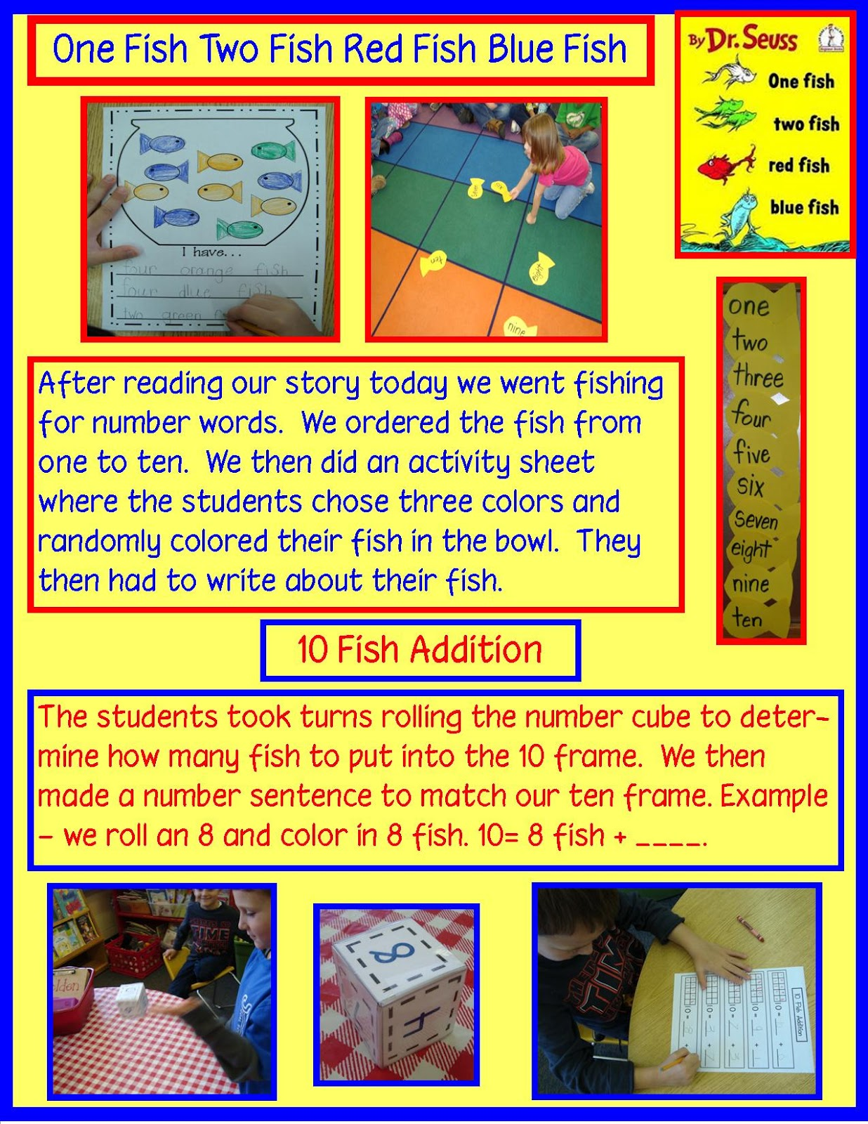 Golden gang kindergarten more dr seuss and free activity for One fish two fish