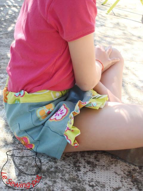 jupe short skort lin coton faux-wrap shorts