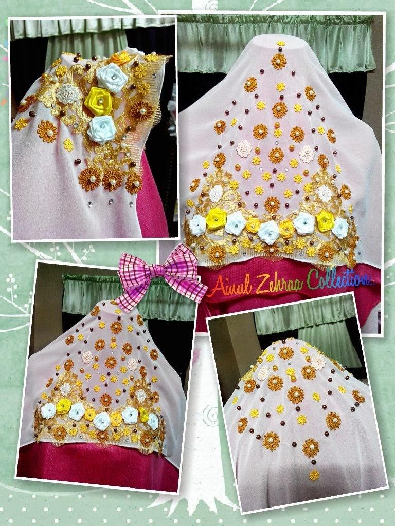 Veil Pengantin Kuning Putih Cantik
