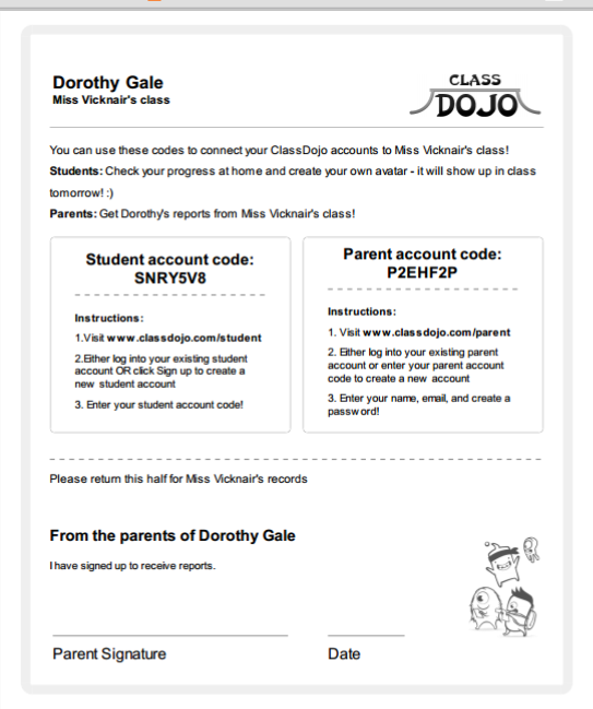 i also include each individual childs unique code for signing up on classdojo