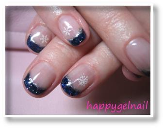 Ongles en gel noel bleu - Ongle bleu marine ...