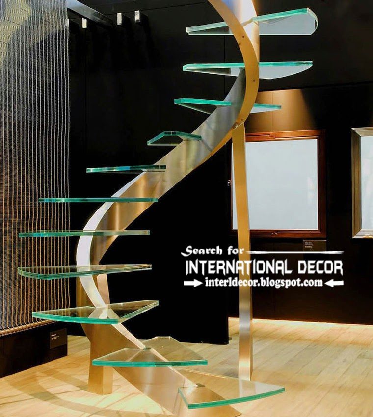 original stairs design 2015 and glass staircase for modern interior, high-tech style stairs